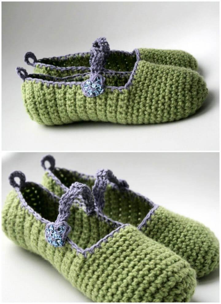 Free Mary Jane Crochet Slipper Pattern