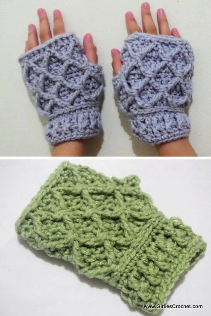 Free Rheema Fingerless Mittens Crochet Gloves