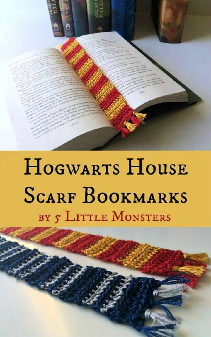 Free crochet pattern for Hogwarts House Scarf Bookmark