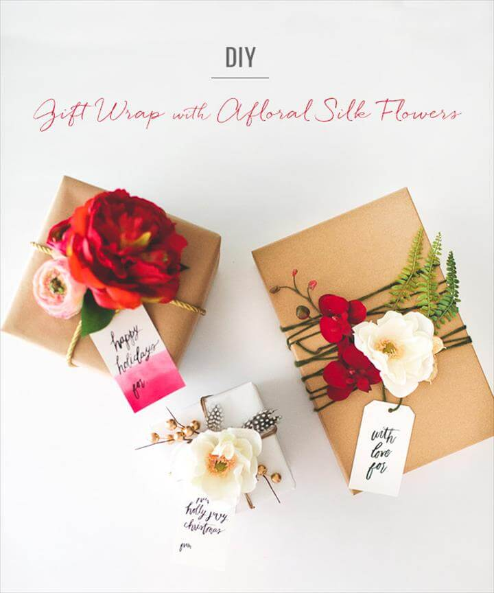DIY: Gift Wrap with Silk Flowers from Afloral