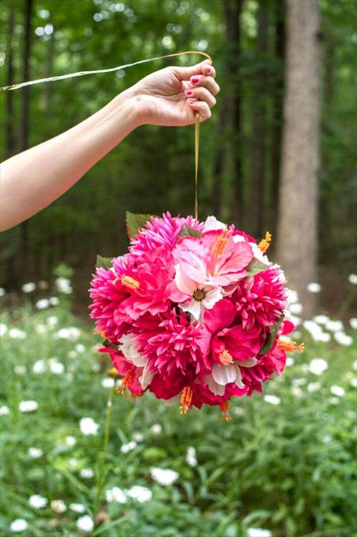 DIY Ideas With Faux Flowers - Hanging Flower Balls - Paper, Fabric, Silk and