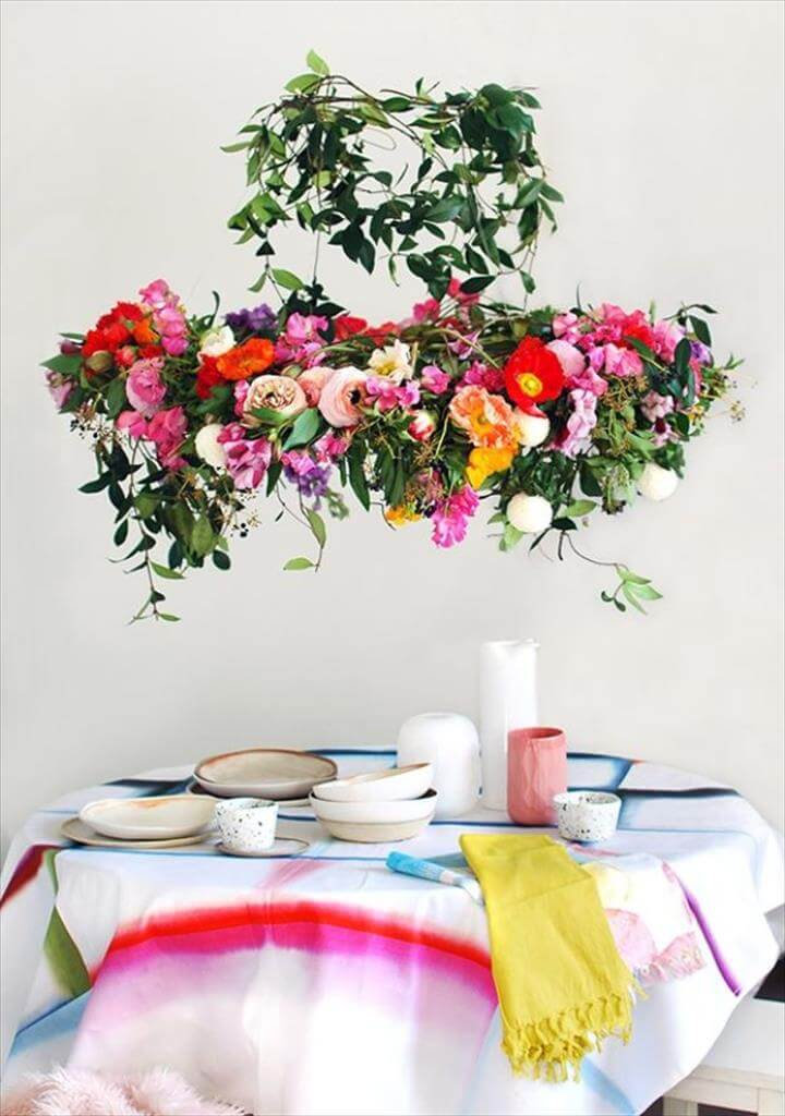 DIY Ideas With Faux Flowers - Hanging Flower Chandelier - Paper, Fabric, Silk and