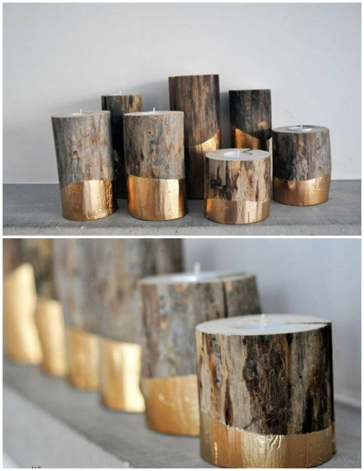 How To Build Gold Dipped Log Candle Holders