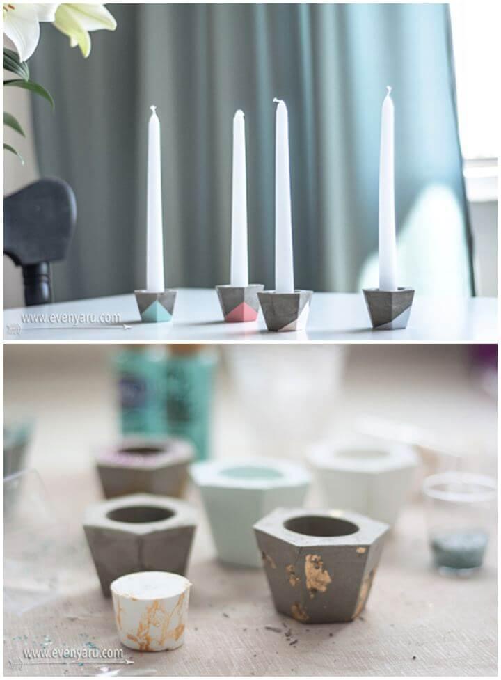 How To DIY Concrete Candlesticks