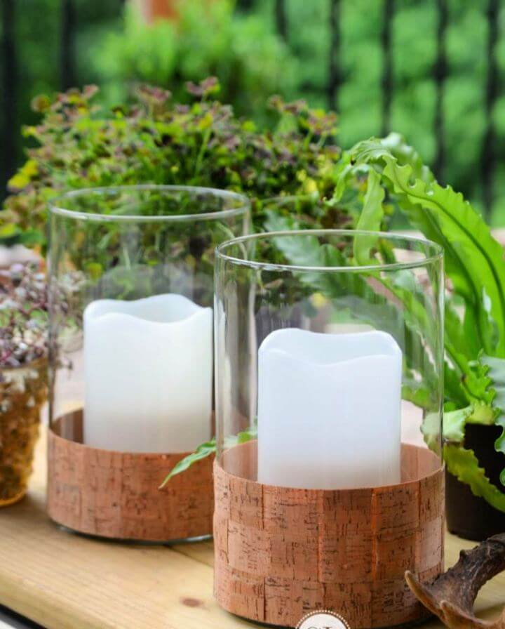 How To DIY Cork Wrapped Candle Holders