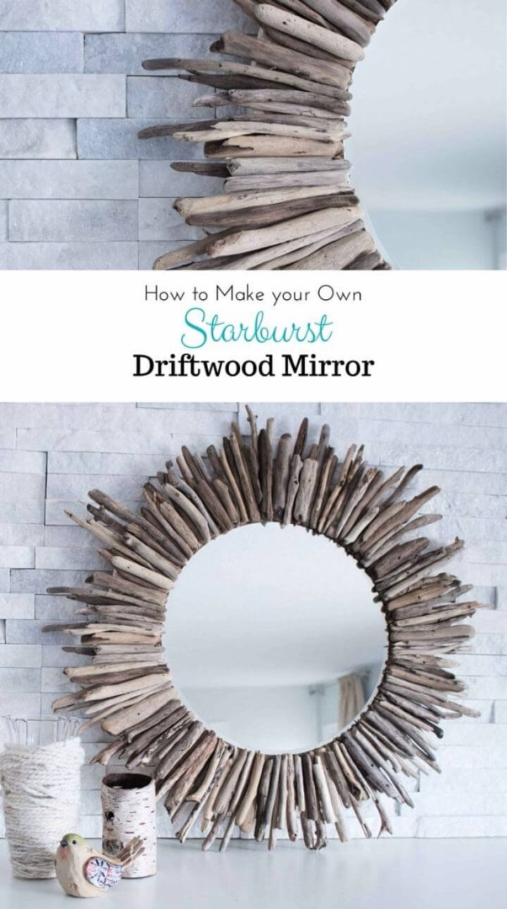 How To DIY Driftwood Mirror For Living Room