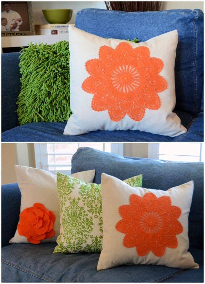 How To DIY Dyed Doily Pillows For Home Decor