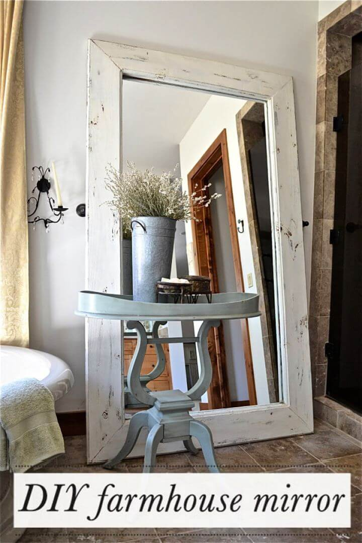 How To DIY Farmhouse Floor Mirror For Living Room