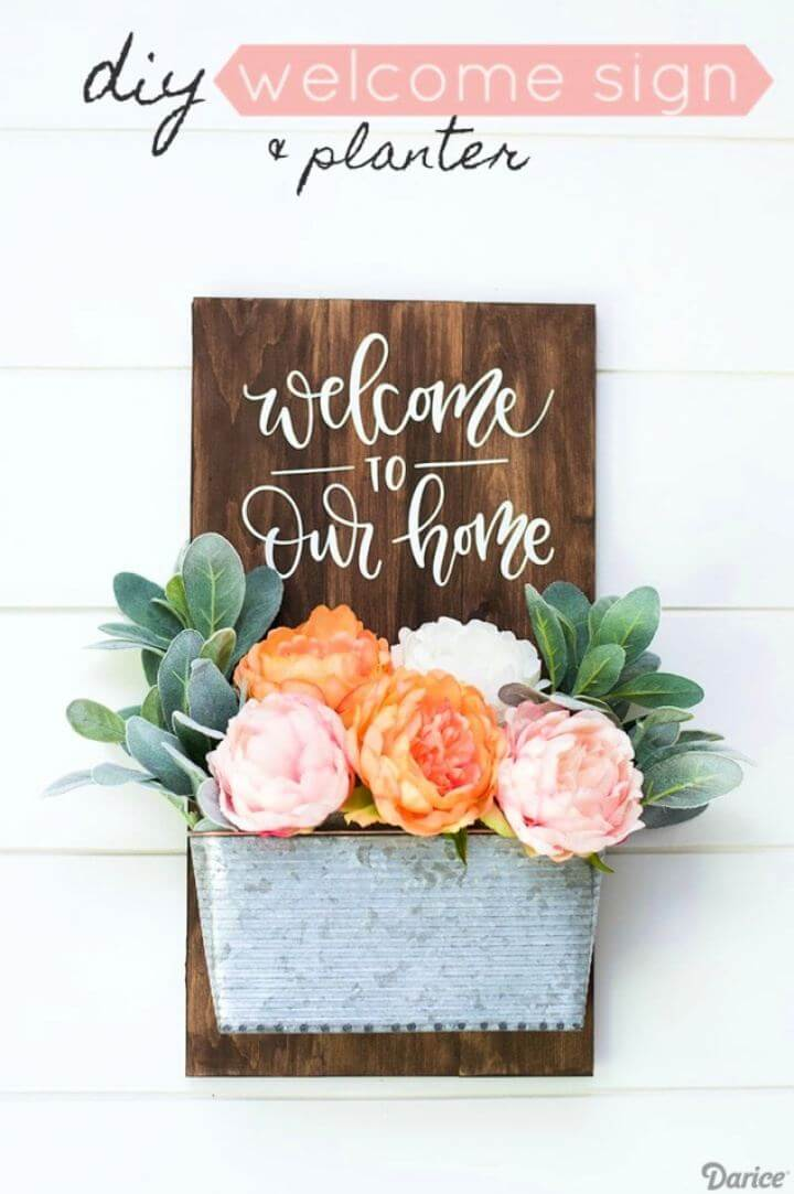 sign with flowers, indoor signs, for home, diy front door sign, welcome sign,