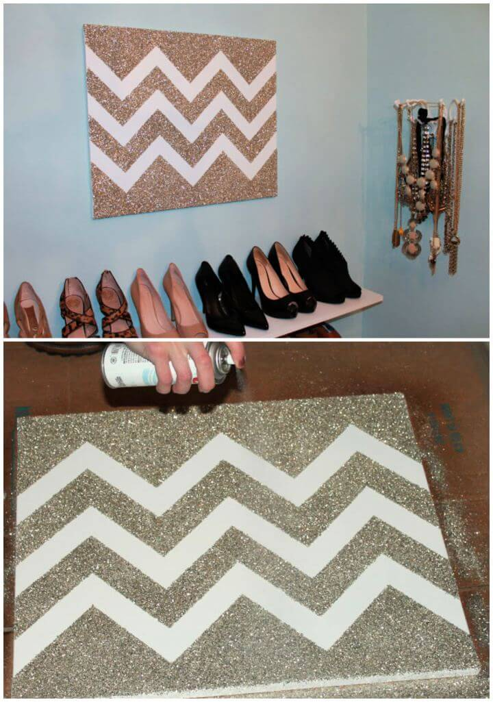 How To DIY Glitter Chevron Art