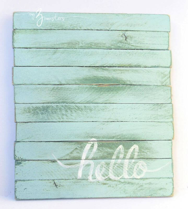 How To DIY Hello Pallet Sign With Wood Shims
