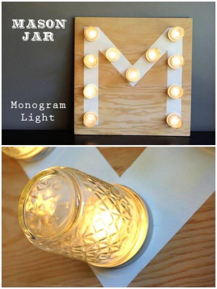How To DIY Mason Jar Monogram Light