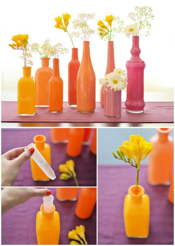 How To DIY Painted Bottle Vases