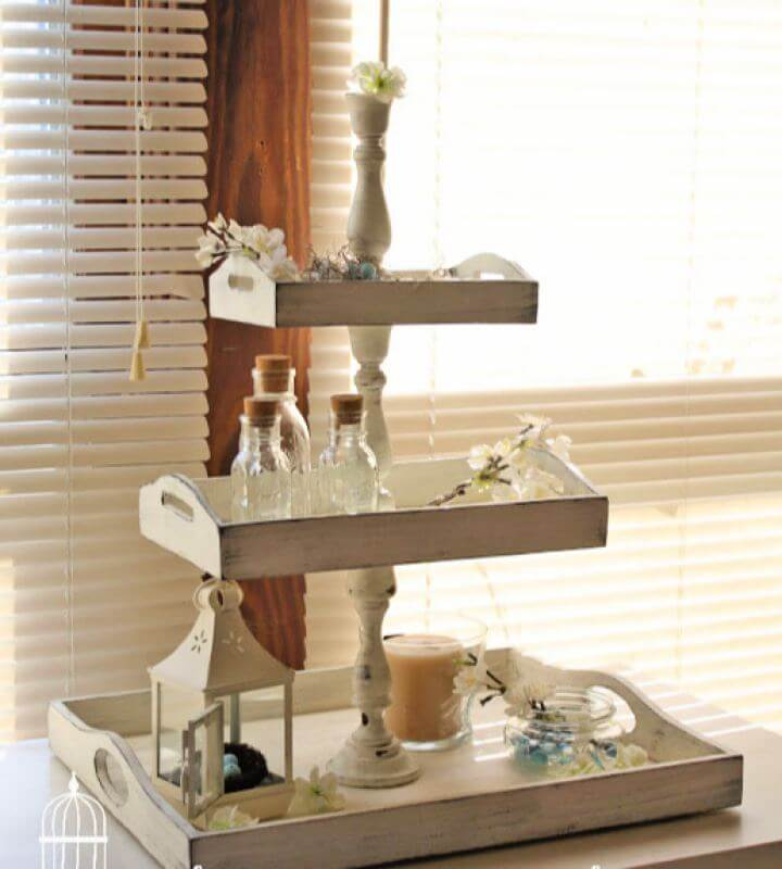 How To DIY Shabby Chic 3 Tiered Vanity Tray