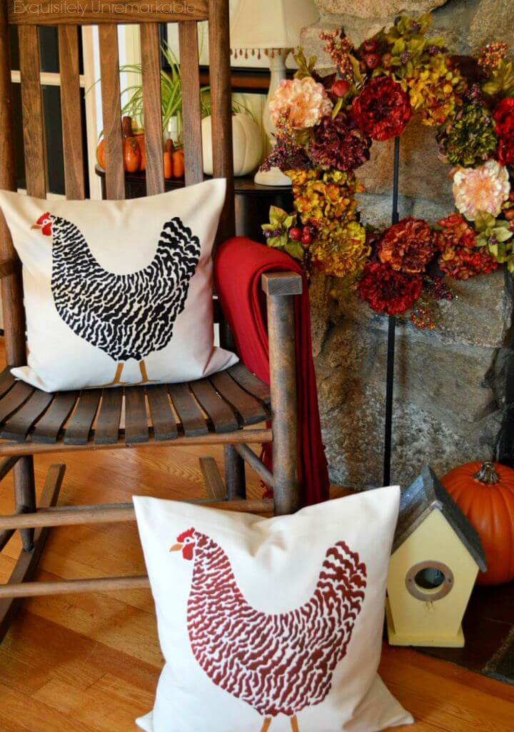 How To DIY Stenciled Rooster Pillow For Home