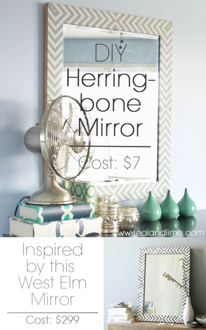 How To Knock Off West Elm's Herringbone Mirror