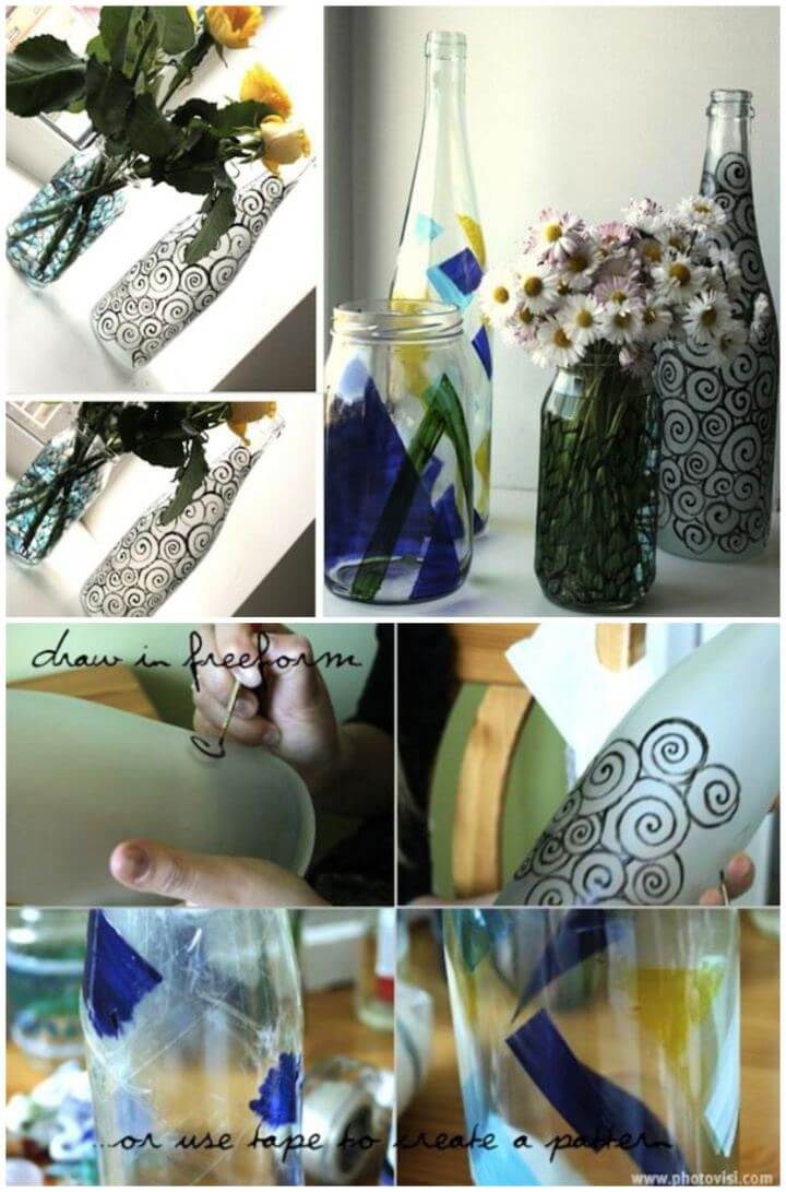 How To Make A DIY Painted Bottle Vases