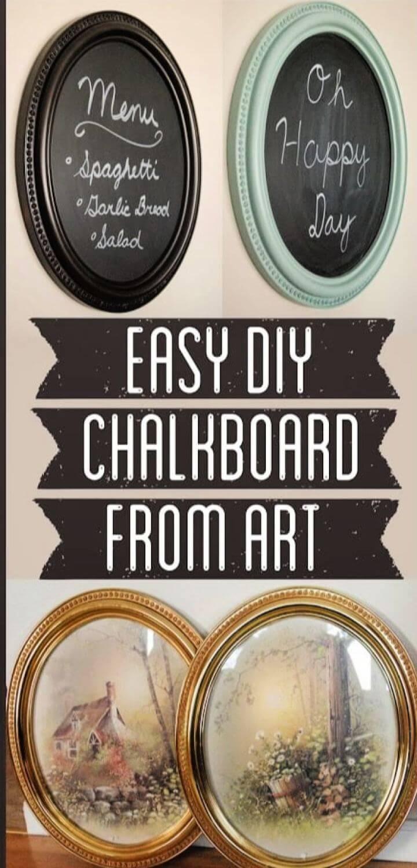 How To Make Chalkboard From Framed Art
