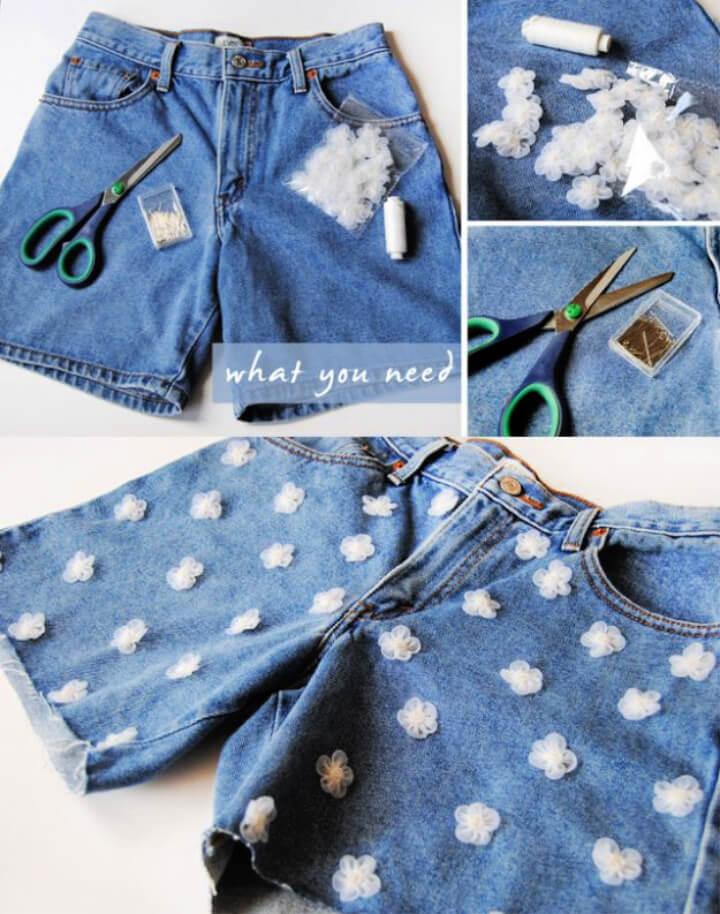 How To Make DIY Daisy Denim Shorts 1