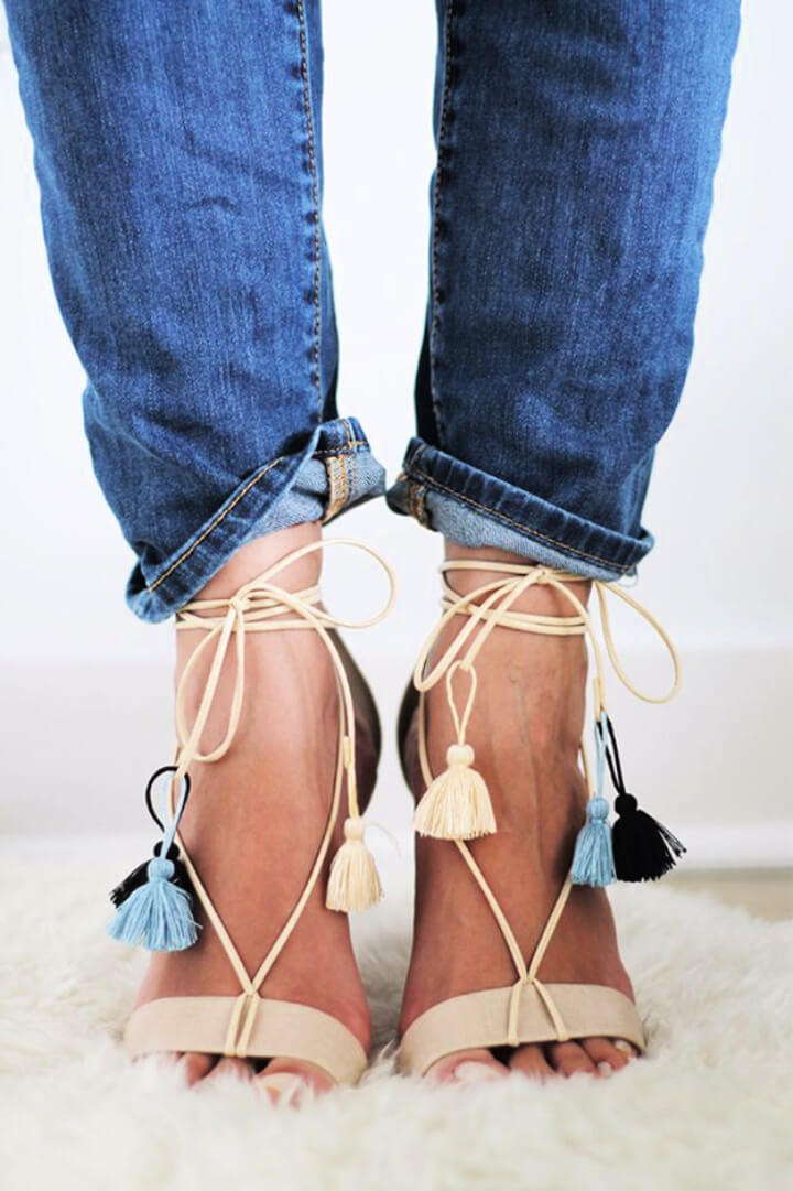 How To Make DIY File Tasseled Lace Up Sandals