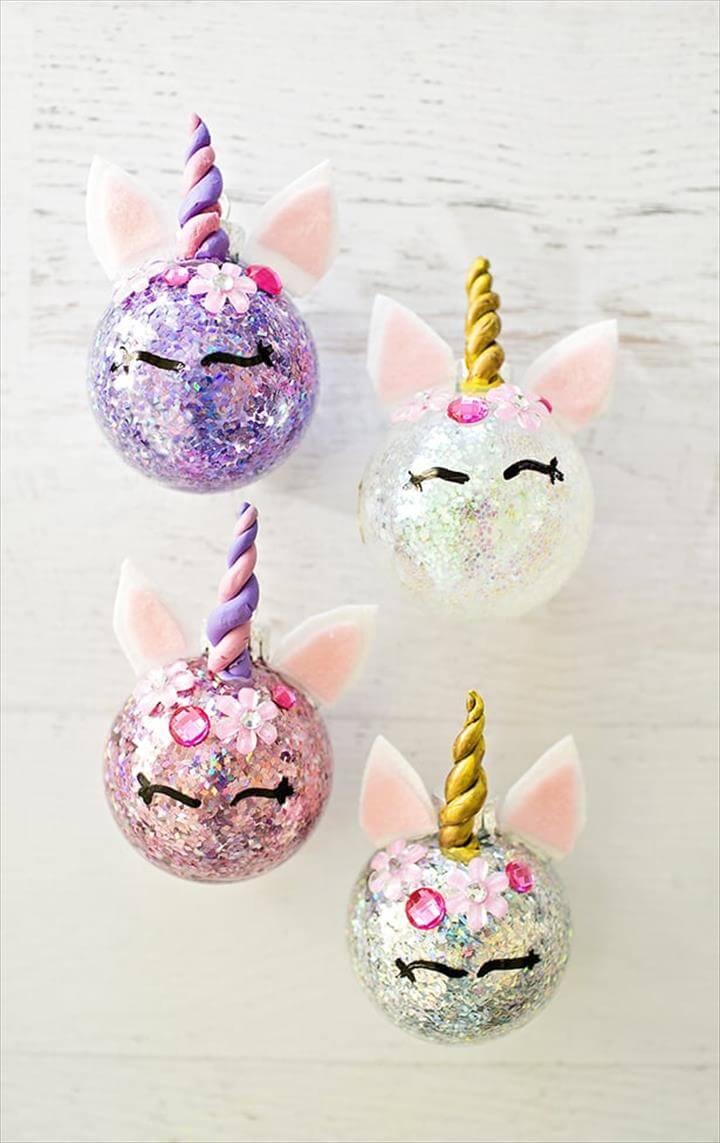 How To Make DIY Glitter Unicorn Ornaments