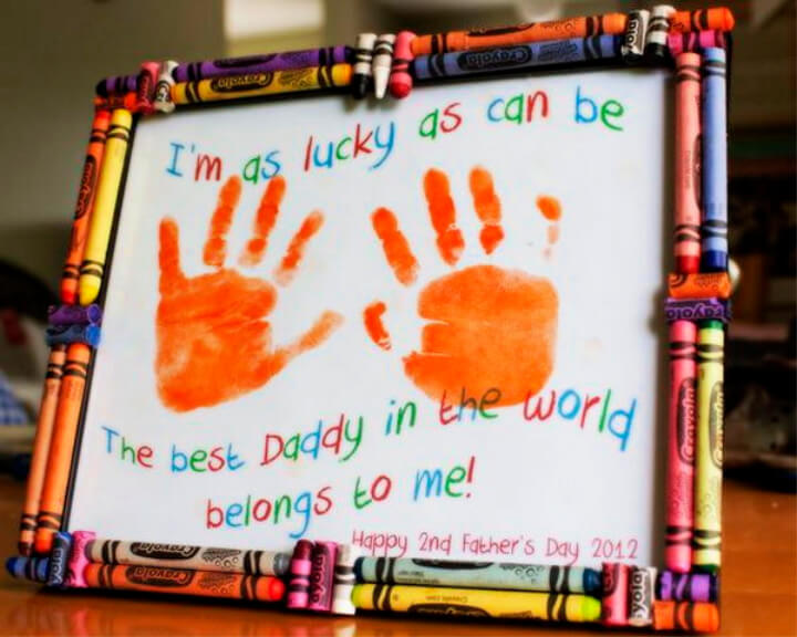 How To Make Father's Day Hand Print Craft With Crayon Frame