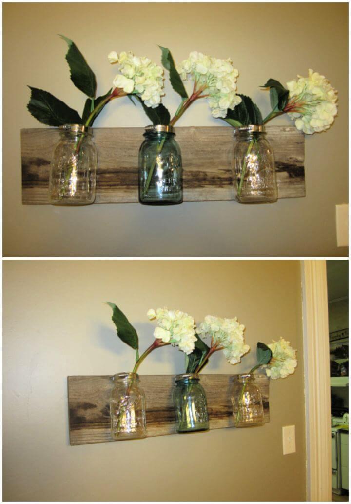 How To Make Mason Jar Wall Hanging Vase Tutorial
