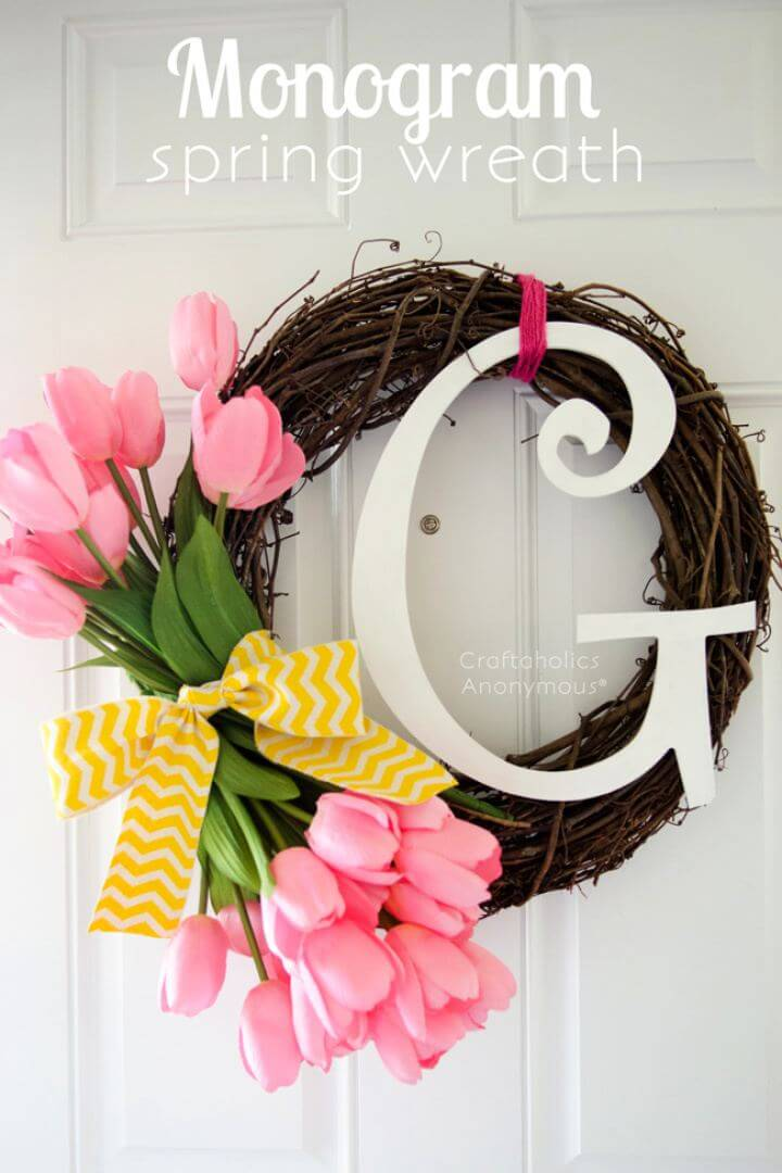 How To Make Monogram Spring Wreath