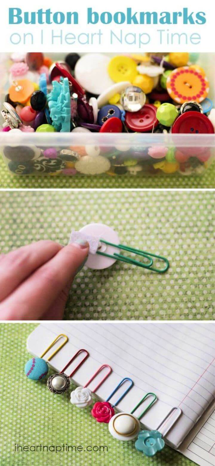 How To Make Simple and Cute Button Bookmark