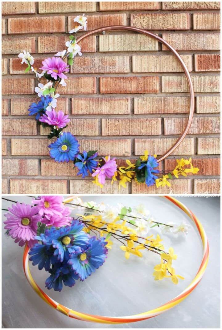 How To Make Spring Flower Hoop Wreath
