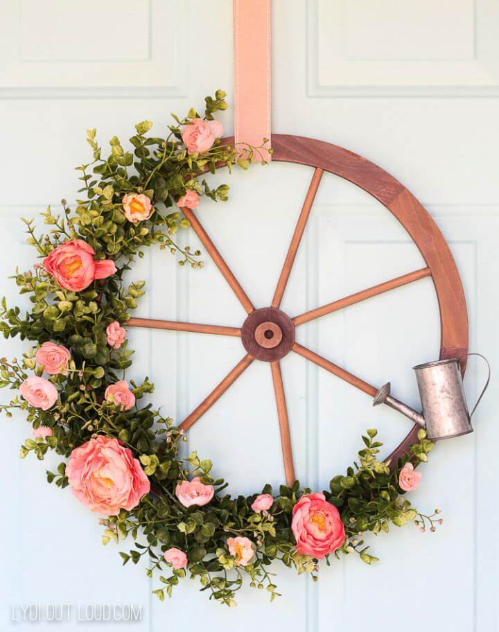 How To Wagon Wheel Farmhouse Style Spring Wreath Tutorial