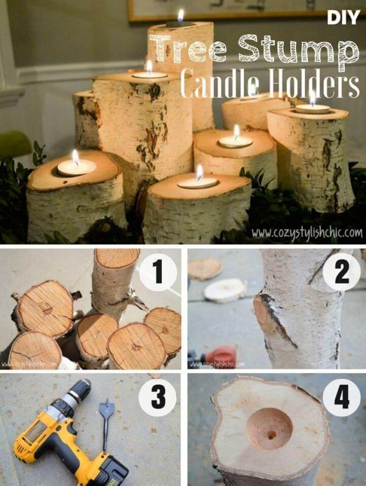 How to Make a Set of Tree Stump Candle Holders