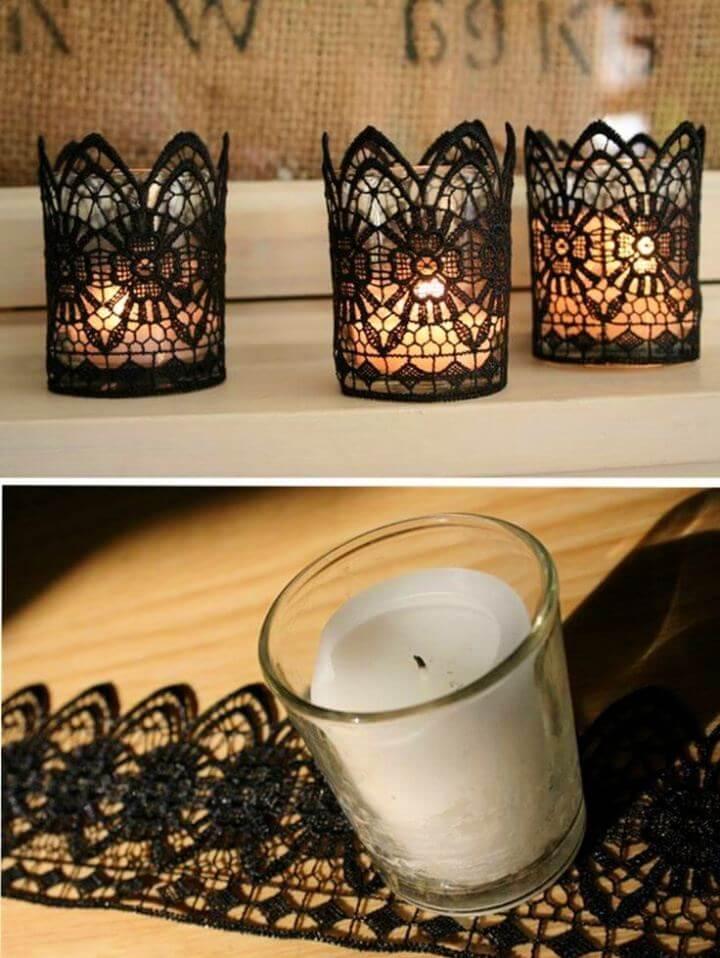 Make A Black Lace Garter Trimmed Candle Holder