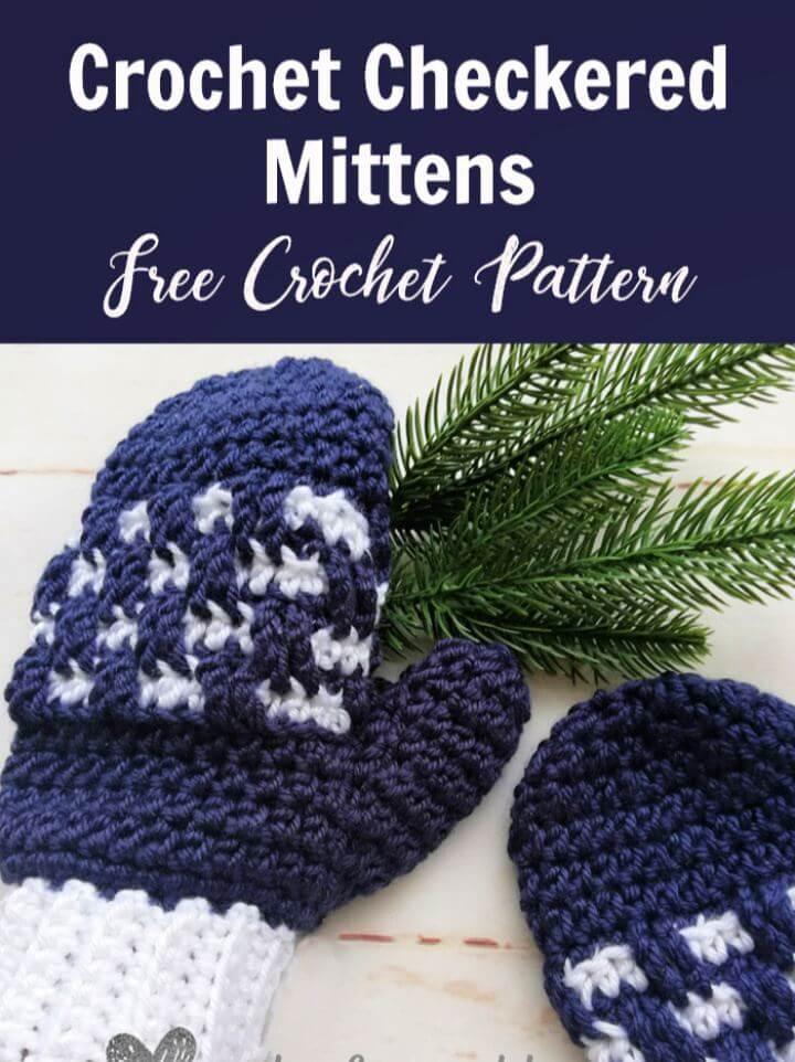 Make A Crochet Checkered Mittens Free Pattern