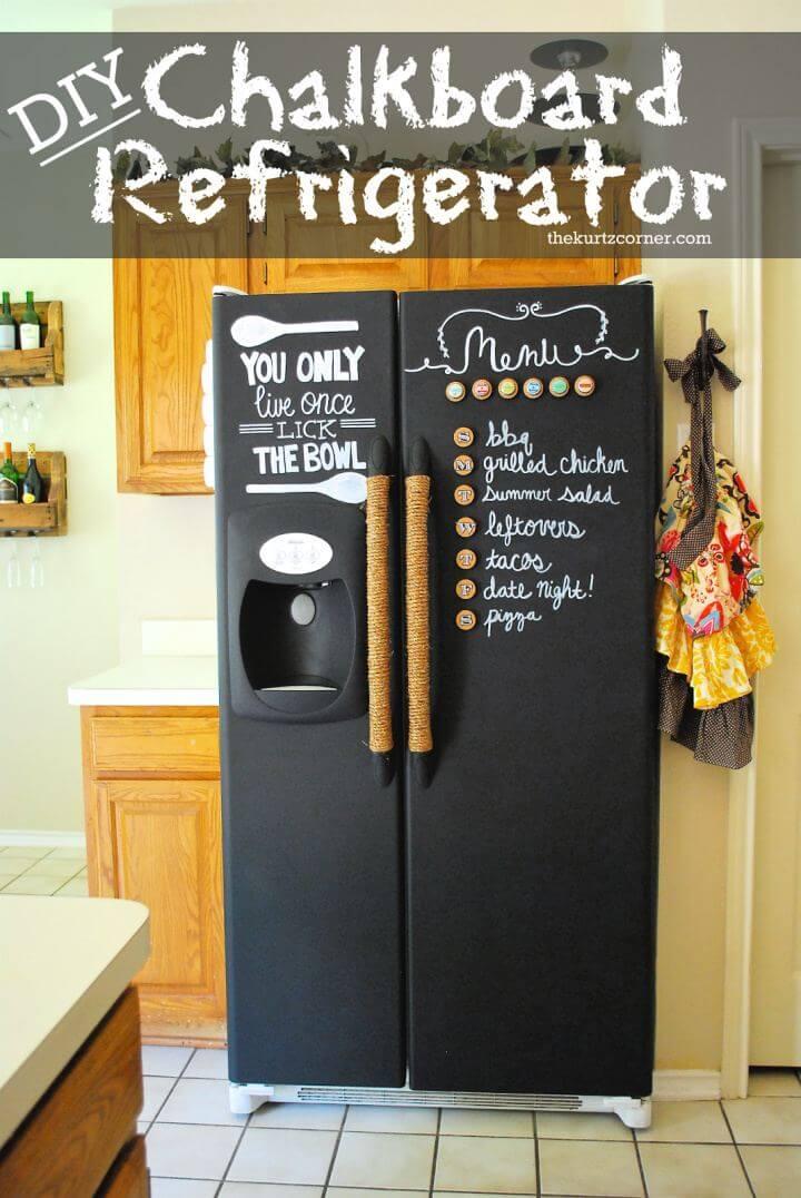 Make A DIY Chalkboard Refrigerator