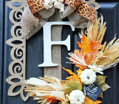 Make A DIY Fall Door Wreath Using A Wood Frame