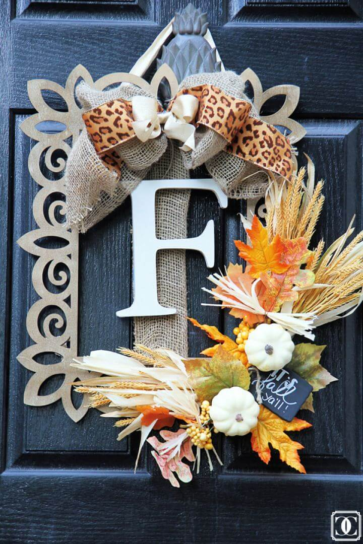 Make A DIY Fall Door Wreath Using A Wood Frame