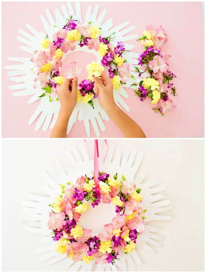 Make A DIY Handprint Flower Spring Wreath