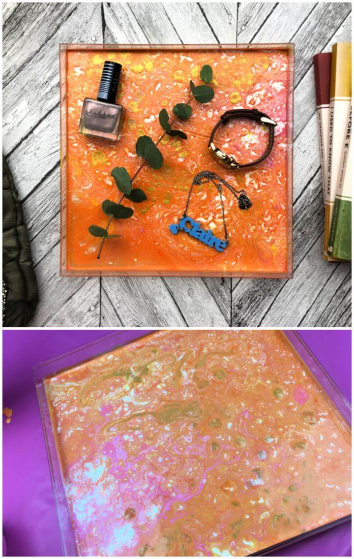 Make A DIY Paint Pouring Vanity Tray