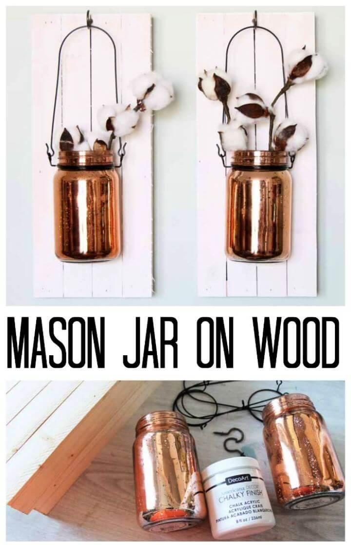 Make DIY Mason Jar on Wood Hanging Wall Art