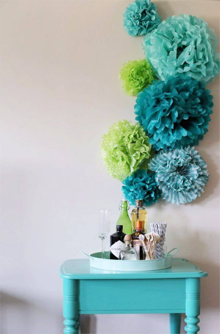Make Tissue Paper Pom Poms Wall Art