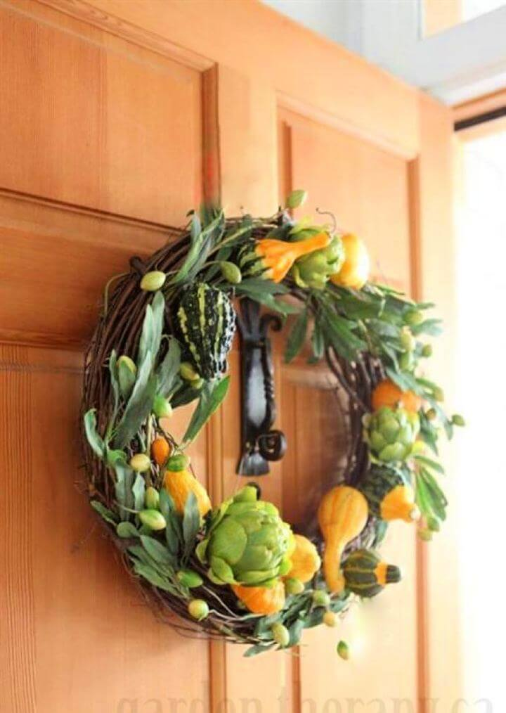 Make Your Own Fall Gourd Door Wreath