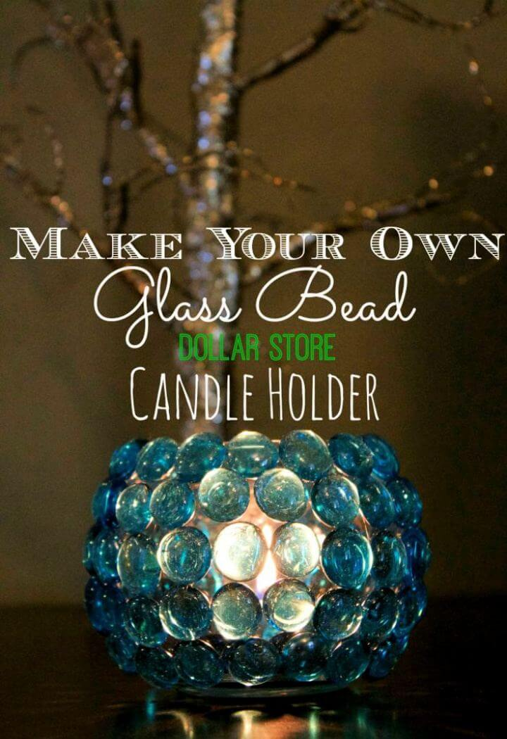 Make Your Own Glass Bead Dollar Store Candle Holder