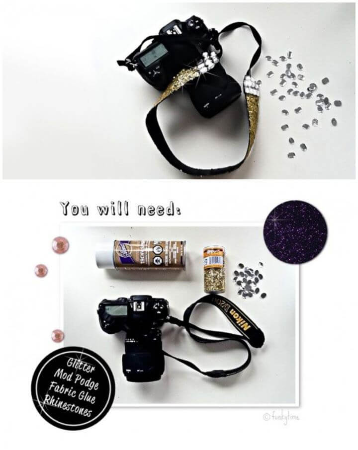 Make Your Own Glitter Camera Strap