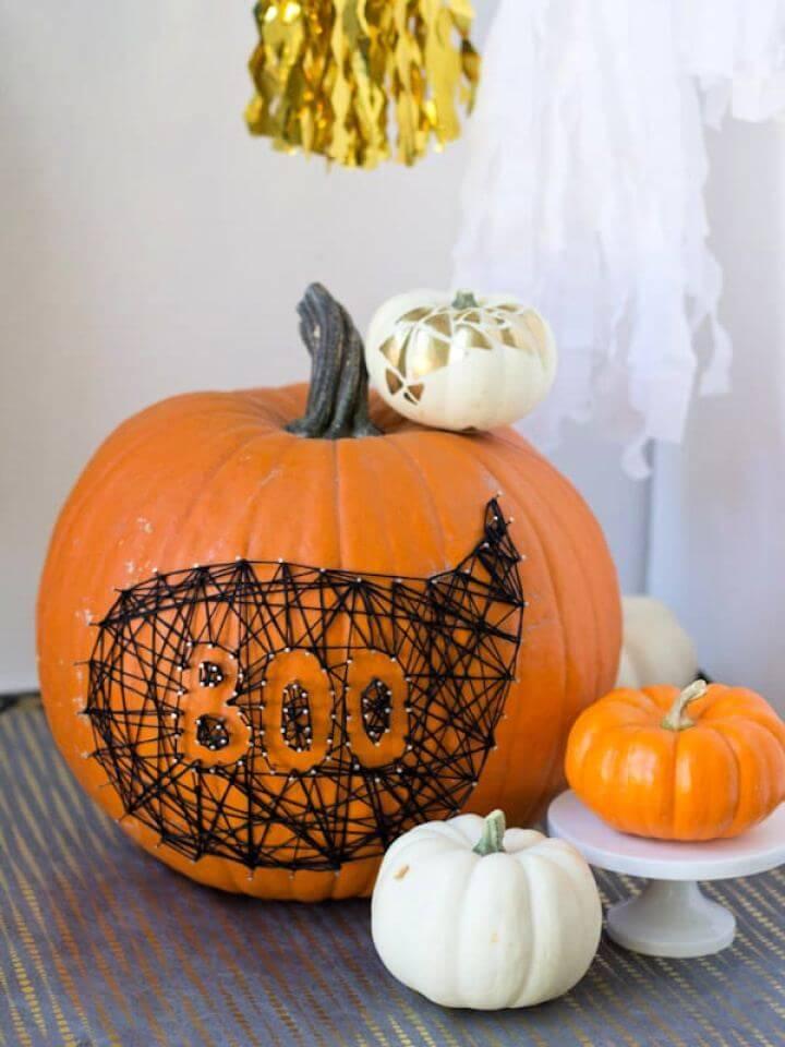 Make Your Own String Nail Art Pumpkin