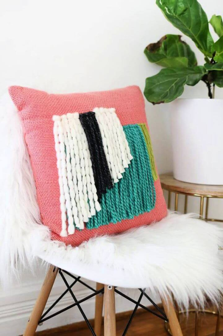 Make Your Own Yarn Fringe Pillow