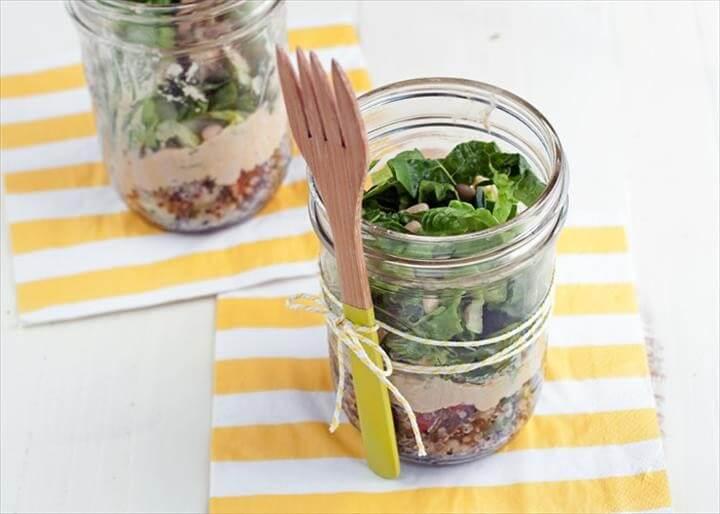 Tabbouleh Hummus Mason Jar Salads