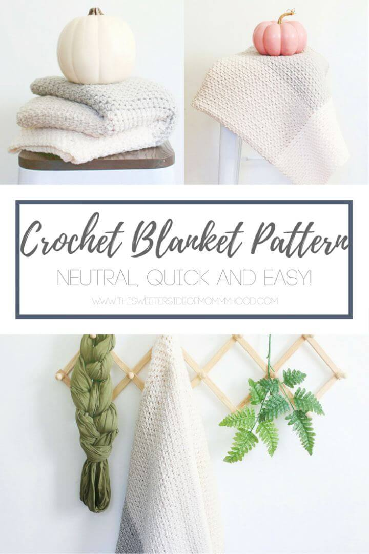 Neutral Color Block Crochet Blanket Pattern