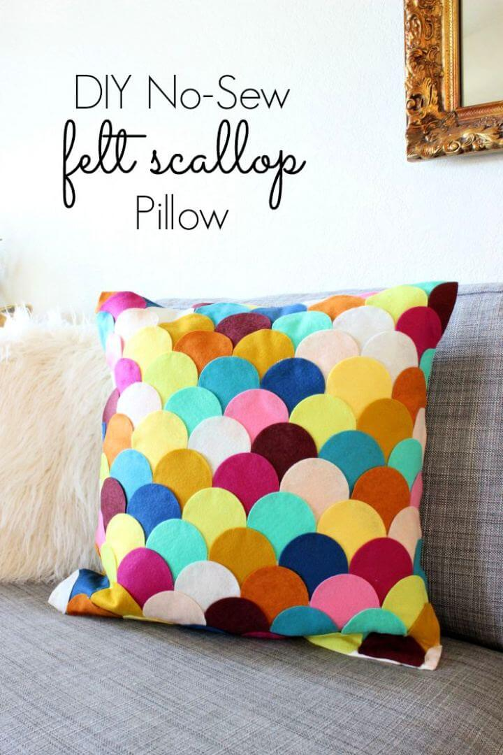 No Sew DIY Felt Scalloped Pillow For Home
