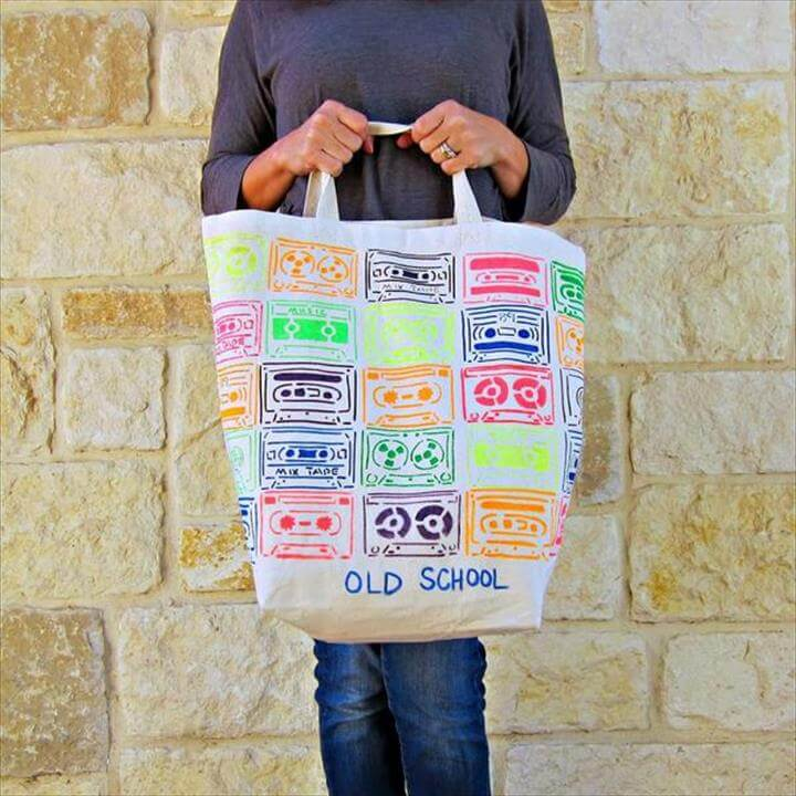 DIY blank tote bag decorating with fabric pens and stencils